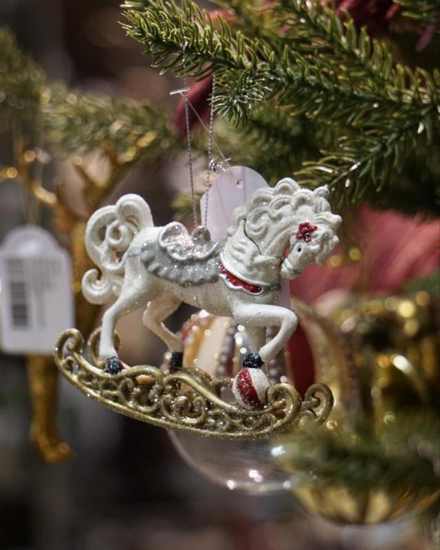 Julgranspynt Gunghäst 10 cm 2-pack
