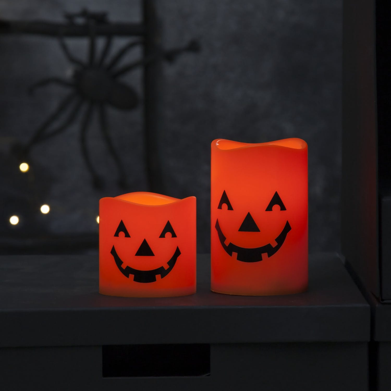 Halloween Blockljus LED Orange 2-Pack