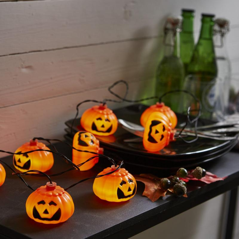 Halloween Pumpor Ljusslinga LED Orange 210 cm