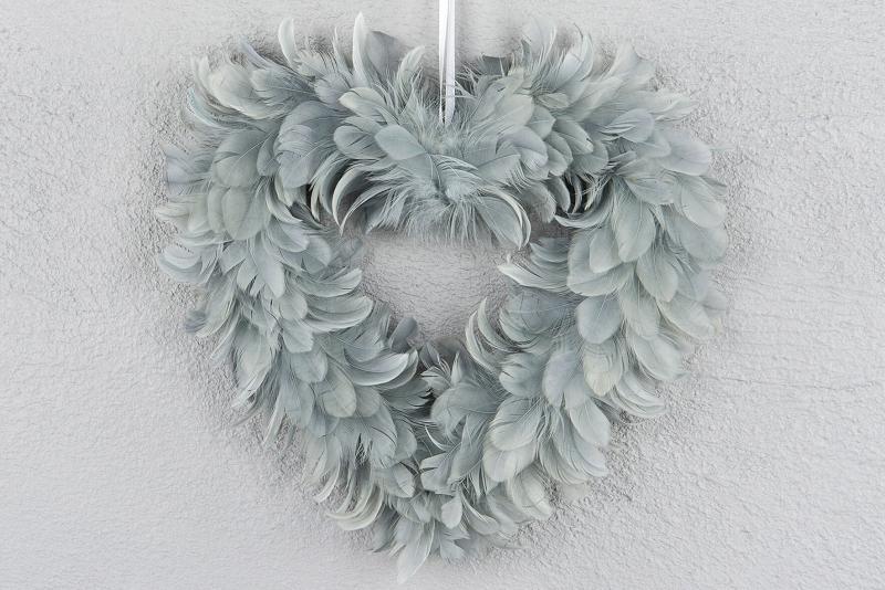 Hjärta Fjäder Grå