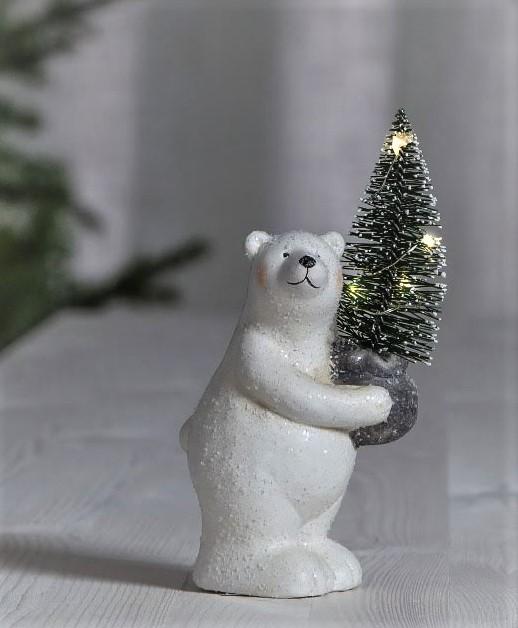Isbjörn Med Julgran - Dew drops - 16 cm
