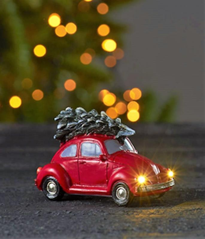 Julbil Med LED-Belysning - Röd