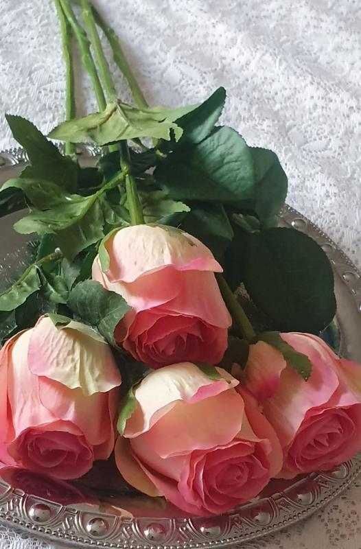 Konstgjord Ros Rosa 50 Cm