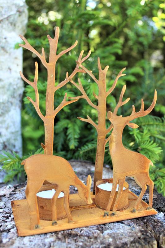 Ljushållare Med Renar Och Träd - Rost