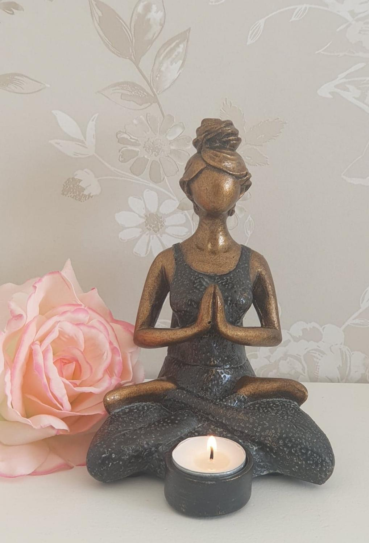 Ljushållare Yogakvinna - Svart