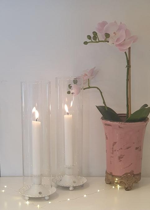 Ljuslykta - Cylinder - Glas - Vit