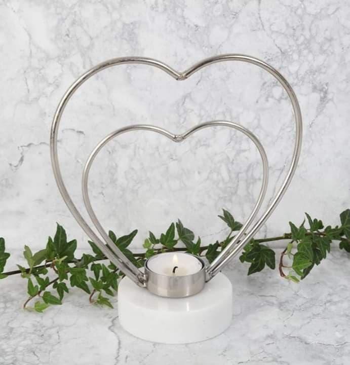 Ljusstake Hjärta Silver