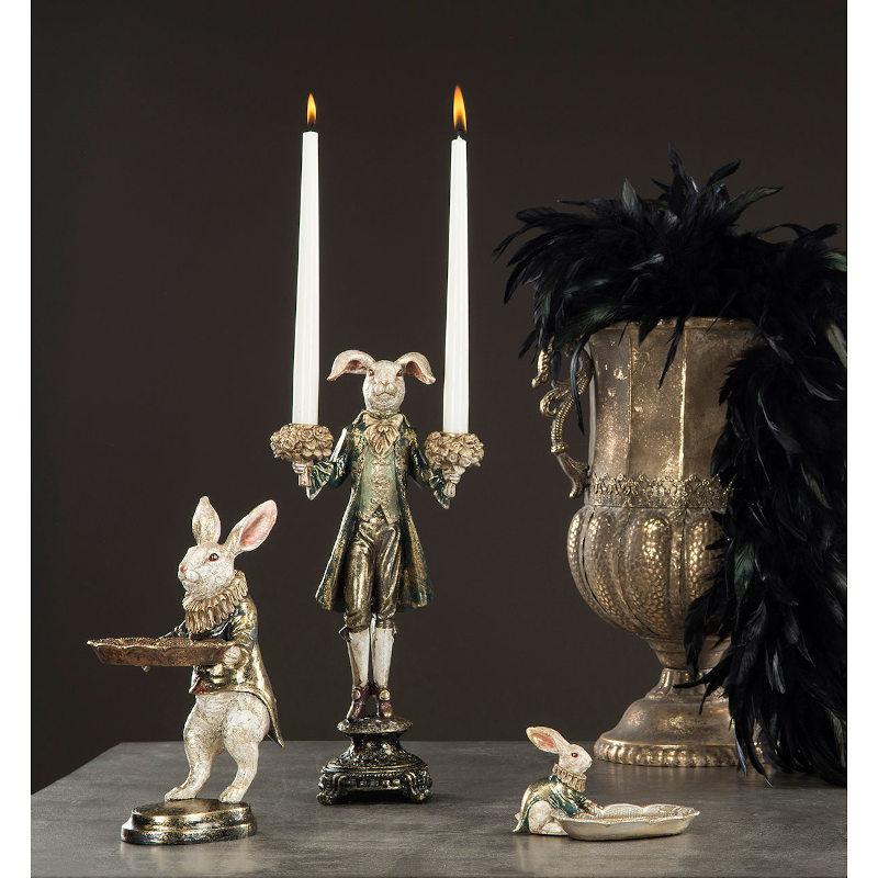 Ljusstake Kanin - Mörkgrön