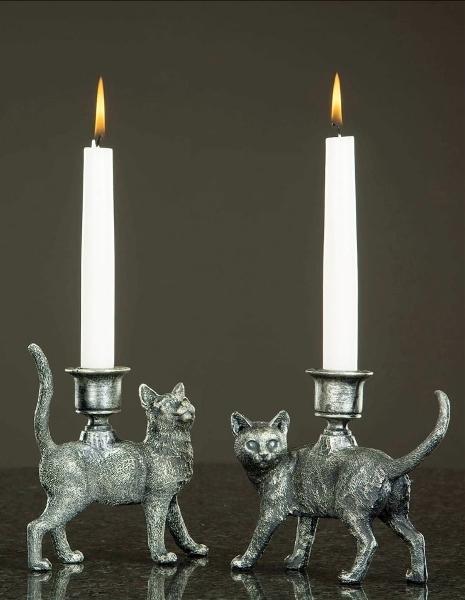 Ljusstake Katt Brons 2-Set