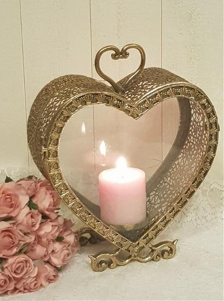 Ljuslykta hjärta Antik mässing