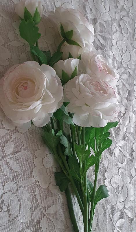 Ranuncel - Vit/Rosa - 45 cm