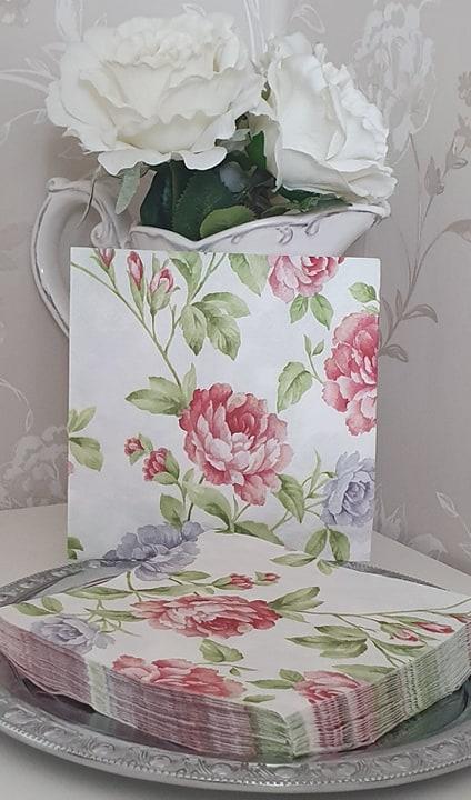 Servett Rosa Blommor