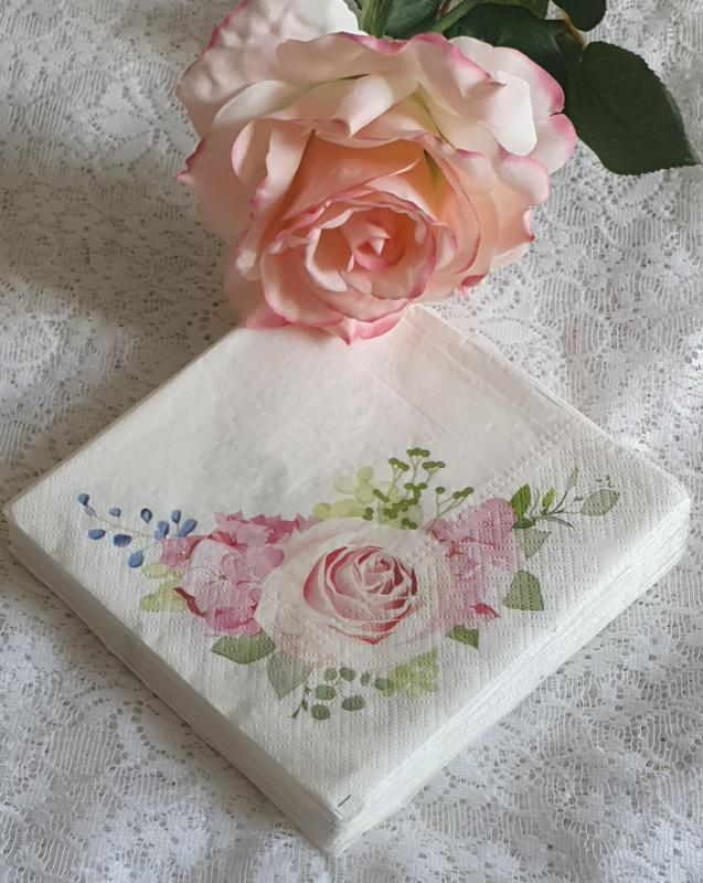 Servett Rosa Rosor