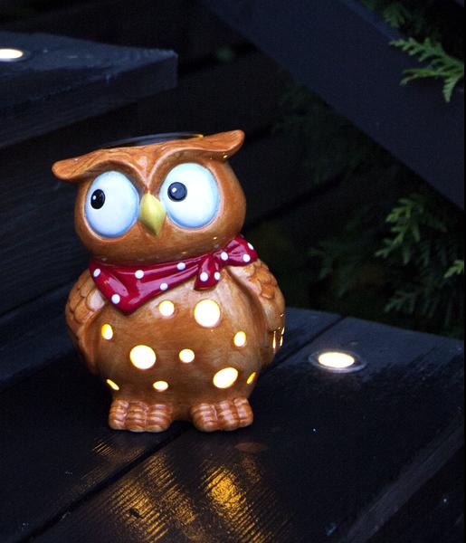 Solcellslampa Uggla Keramik