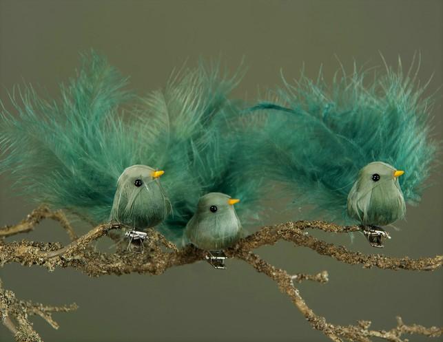 Fågel Med Clip Grönblå 3 - Pack