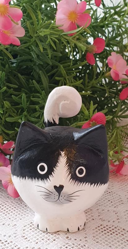 Stående Katt I Trä - Svart
