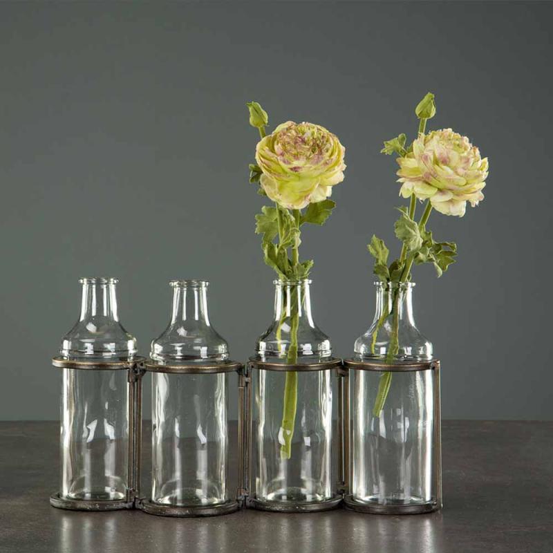 Flaskor Med Ställning Antik Mässing