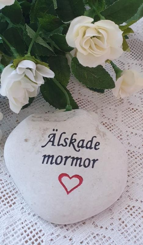 Sten Med Graverade Text - Älskade Mormor