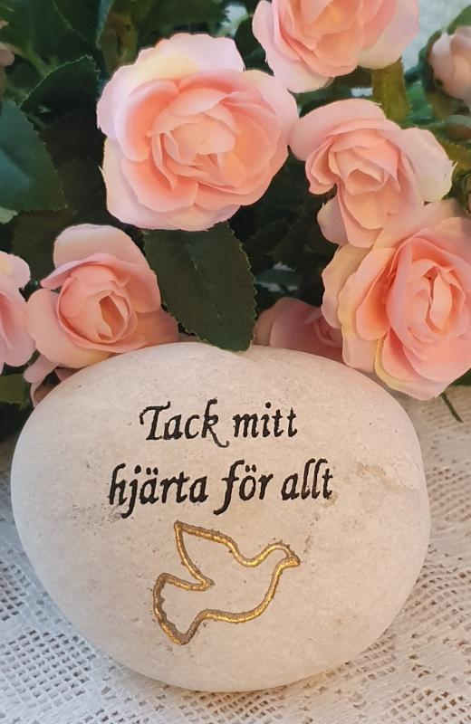 Sten Med Graverade Text - Tack Mitt Hjärta För Allt
