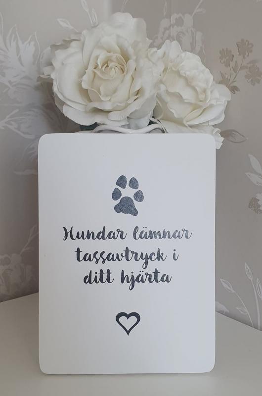 Tavla I Trä -Tassavtryck - Hundar