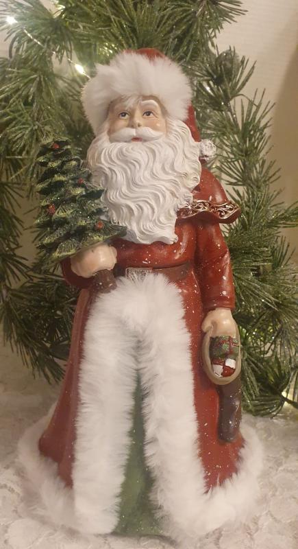 Vacker Jultomte Med Grön Gran