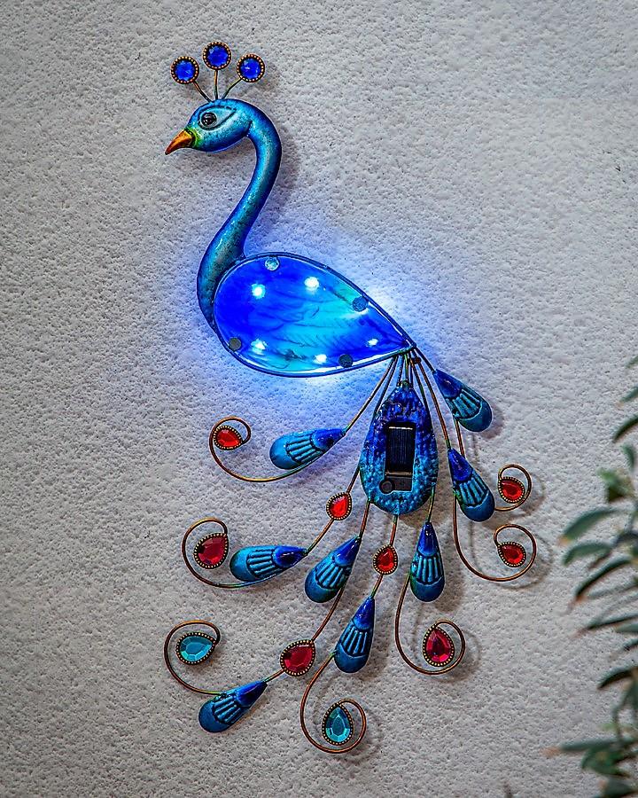 LED Solcellsdekoration Påfågel