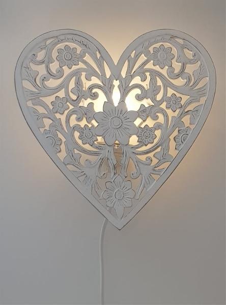 Vägglampa Hjärta Trä Antikvit