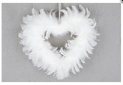 Vit Hjärtformad Fjäder