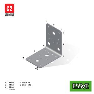 vinkelbeslag utan förstärkning v1 90x90x65x2,5