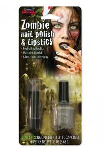 Zombie nagellack och läppstift grått