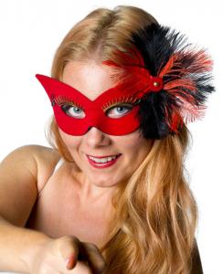 Ögonmask Can can röd m fjädrar