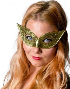 Ögonmask Spetsig glitter guld
