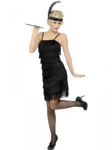 FRINGE FLAPPER SVART DRESS