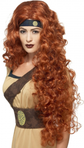 Medieval Warrior Queen Wig, Auburn, Extra Long