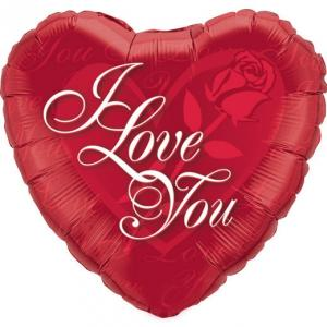 "18"" I Love You Red Rose Folieballong"
