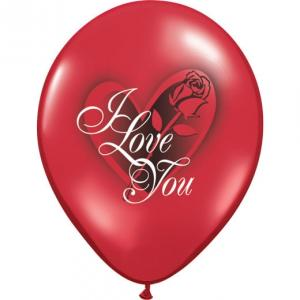 "11"" I Love You Red Rose Latexballonger 25p"