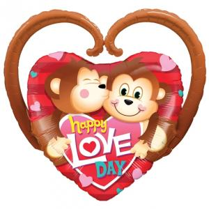 Happy Love Day Monkeys Folieballong