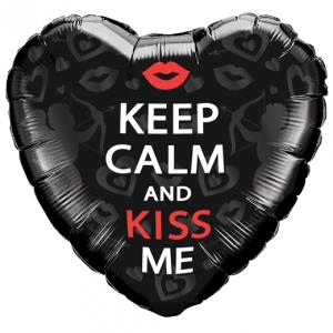 "18"" Keep Calm And Kiss Me Hjärta Folieballong"