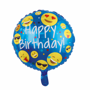 Rund Emoji Happy Birthday Folieballong
