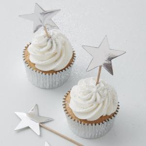 Cake Toppers - Metallic Star - Silver