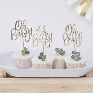 Cupcake Toppers - Oh Baby! - Guld
