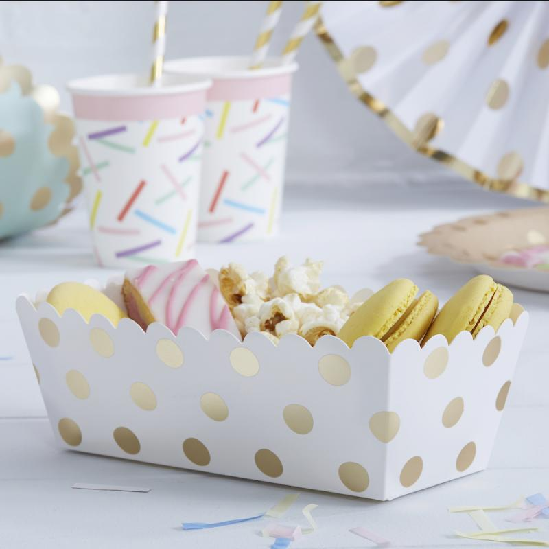 Food Trays - Golden Dots