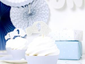 Cupcake Toppers - 1år - Silver