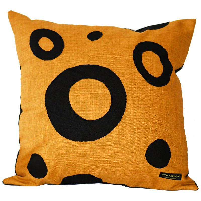 "Dots padded pillow yellow / black 60x60 cm, 24""x24"""
