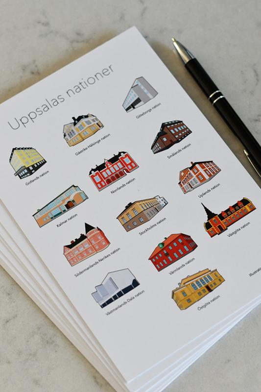 Ten cards Uppsala student nations A5