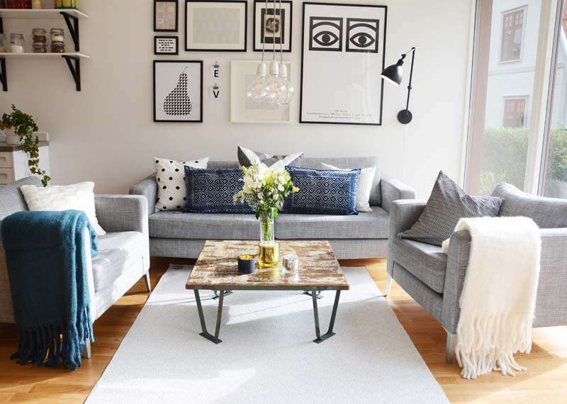 Flip stor vit/grå matta 150x220 cm