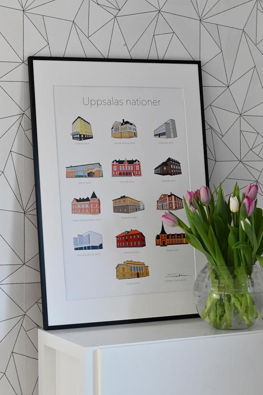 Signerad Poster A2 Uppsalas nationer. Illustration: Sofie Sjöström.