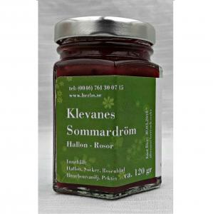 Sommardröm - Delikatess Sylt/Marmelad baserad på Hallon/Ros Skogshallon, Ekoodlad Rosenblad