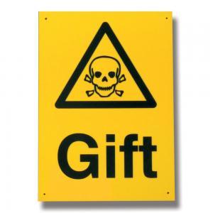 Skylt *Gift*