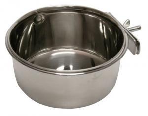 Foder/vatten skål rostfri för bur 0,6L